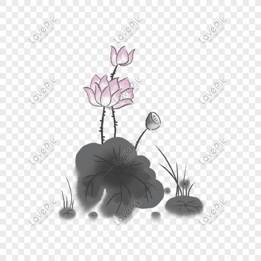 Contoh Gambar Flora Teratai Hitam Putih Foto Batik