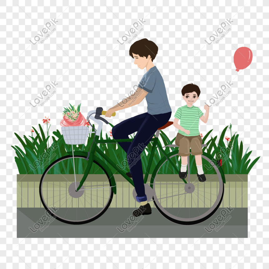 father riding a bicycle png