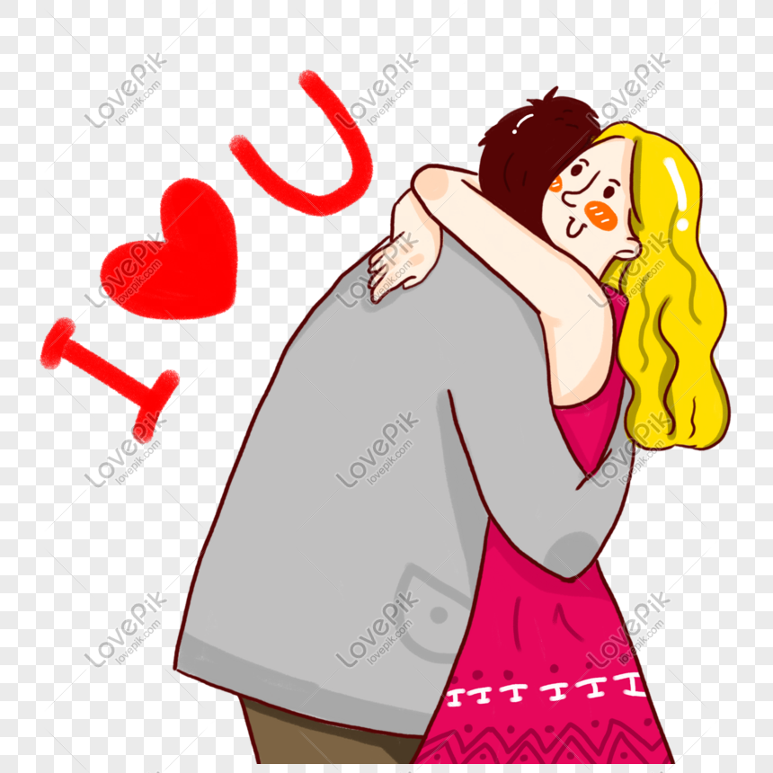 Cartoon Minimalistic Character Couple Hugging Valentines Day Ele Png