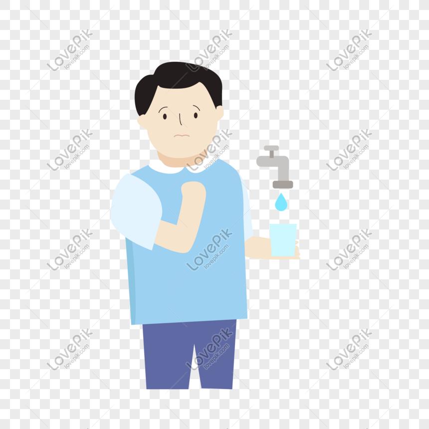 Water saving character vector hand drawn illustration png