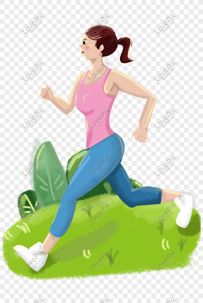 Gadis Berlari Menghadap Matahari Pagi Ilustrasi Yang