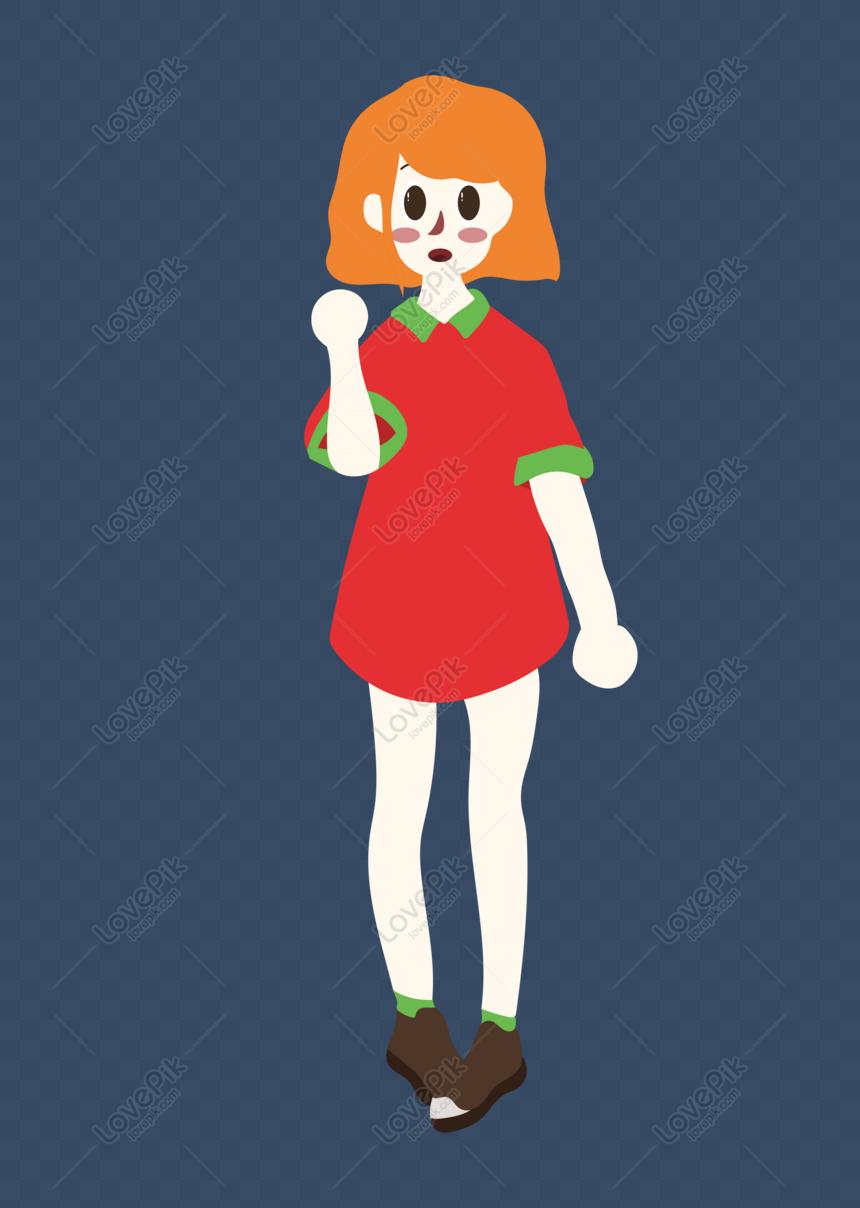 Lovepik- صورة AI-401330925 id الرسومات بحث - صور فتاة قصيرة الشعر في تنورة  حمراء