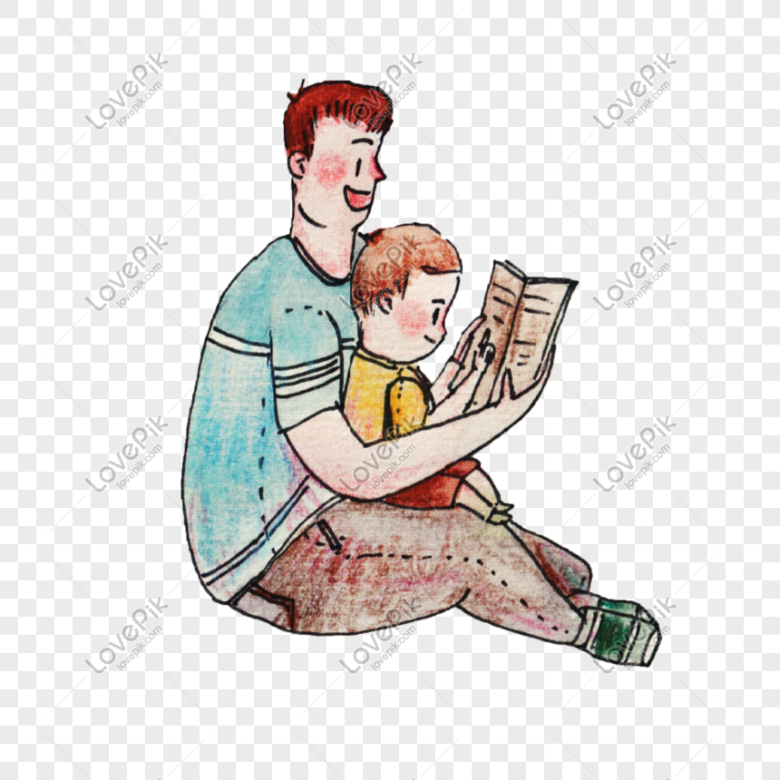 dad and children reading books png