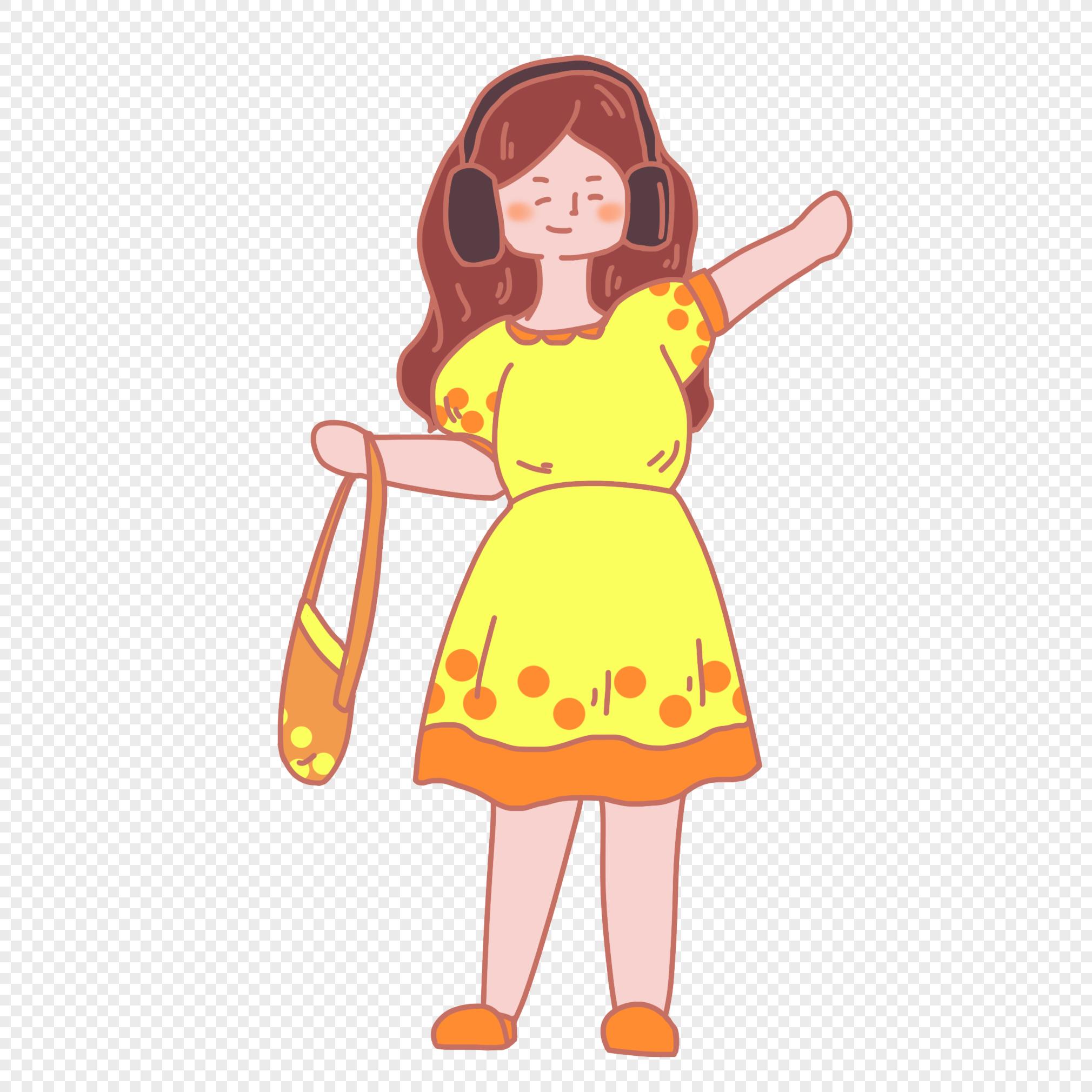 Girl Listening Music Cartoon Images