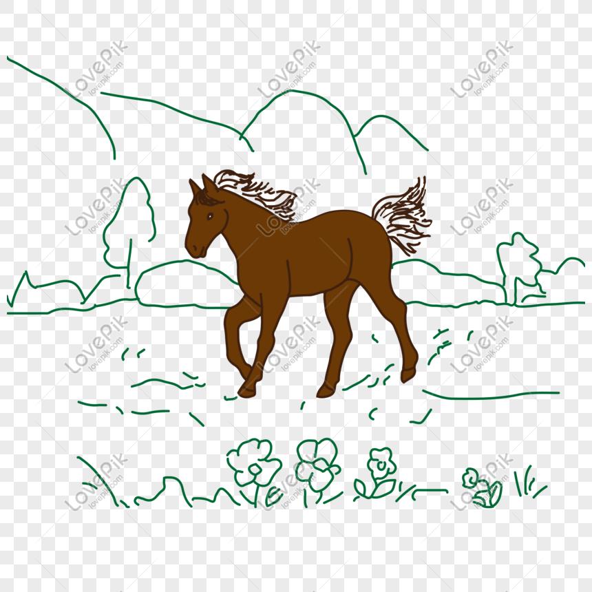Lovepik صورة Ai 401339372 Id الرسومات بحث صور ومن ناحية رسم الكرتون الحصان على العشب