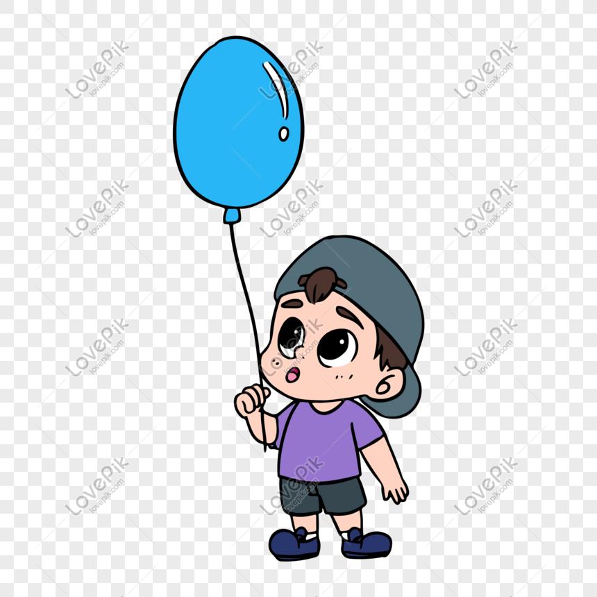 Personagem De Desenho Animado Garoto Segurando Um Balao Imagem