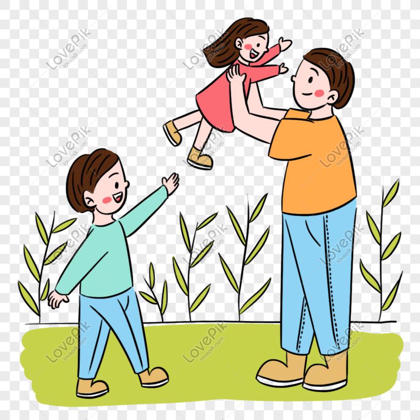 Ayah Kartun Yang Mudah Dengan Adegan Dua Kanak Kanak Gambar Unduh Gratis Imej 401343829 Format Psd My Lovepik Com