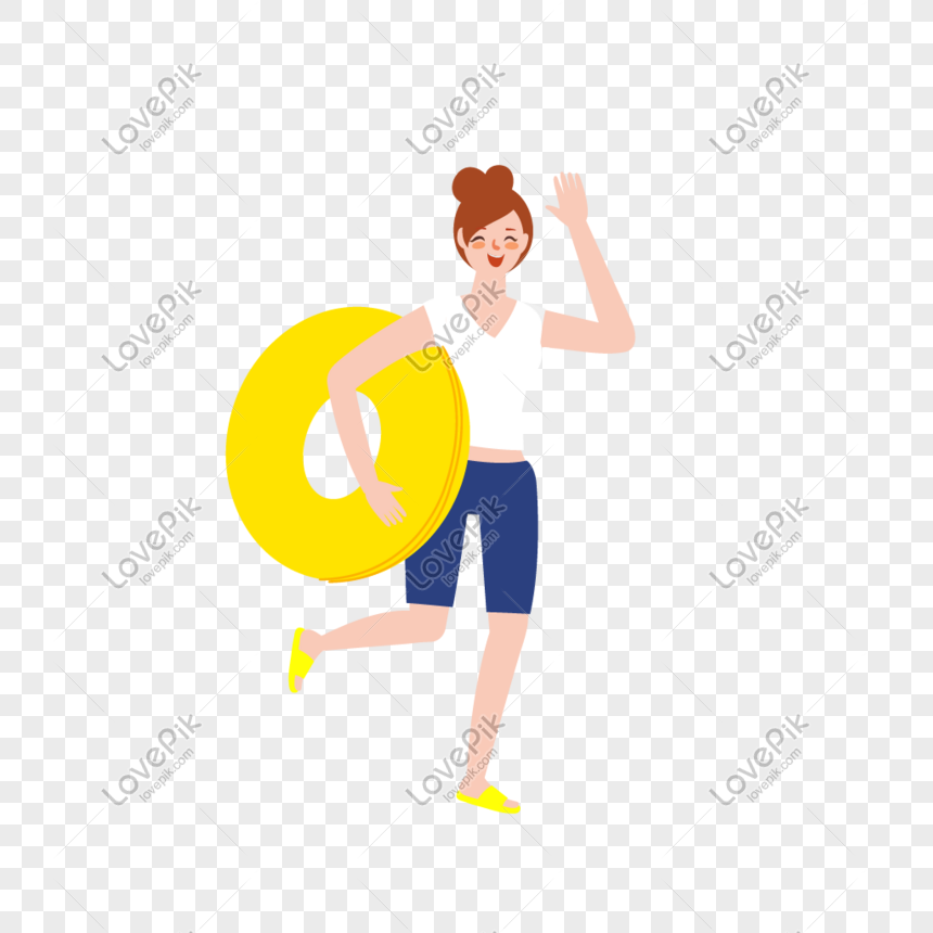 Girl holding a swim ring to swim, vector character material