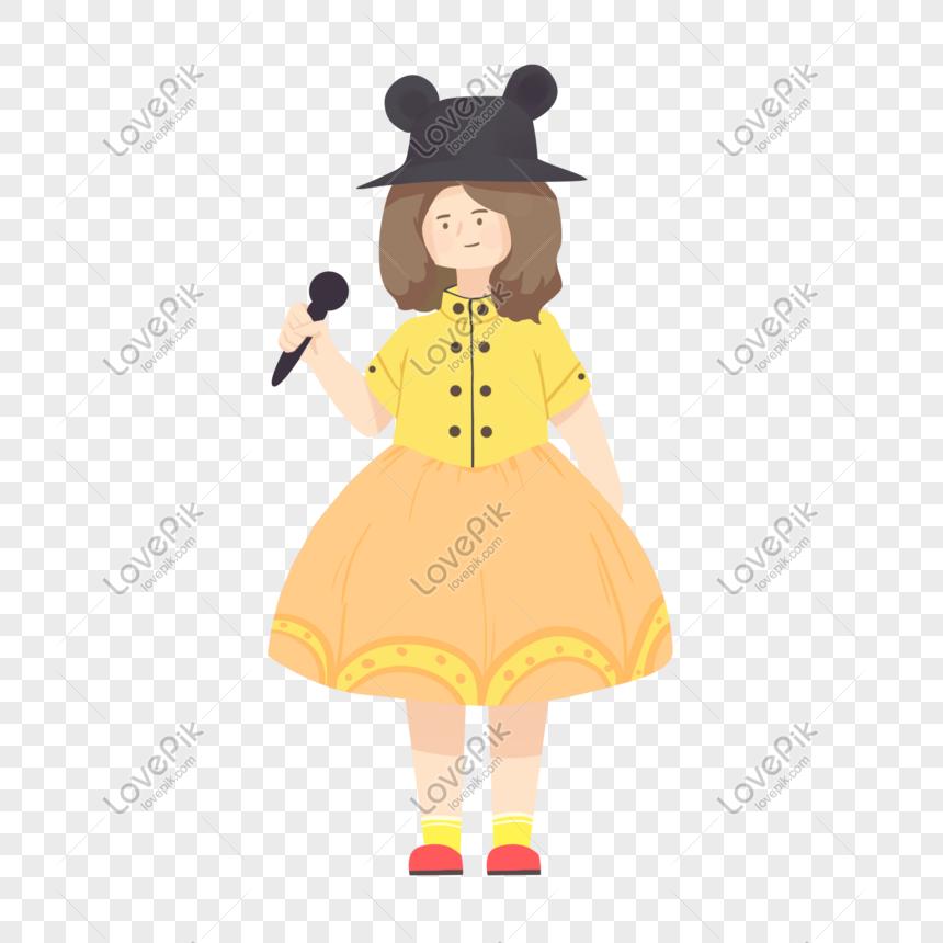 caricatura de niña sosteniendo un micrófono dibujado a mano