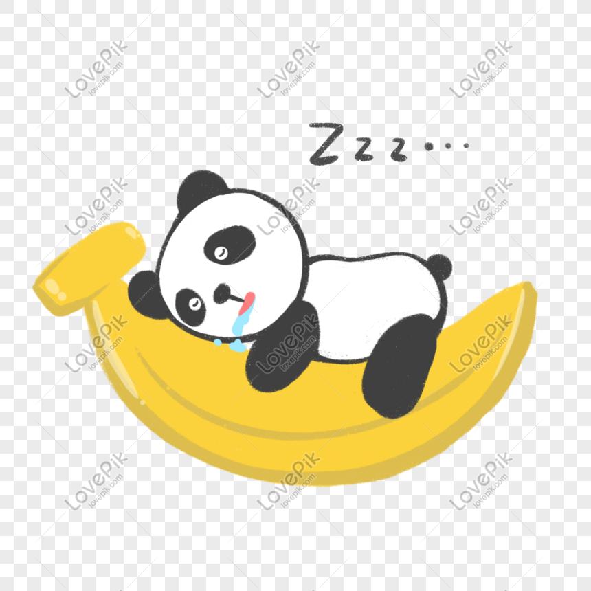 Panda Tidur Di Atas Pisang Gambar Unduh Gratis Grafik