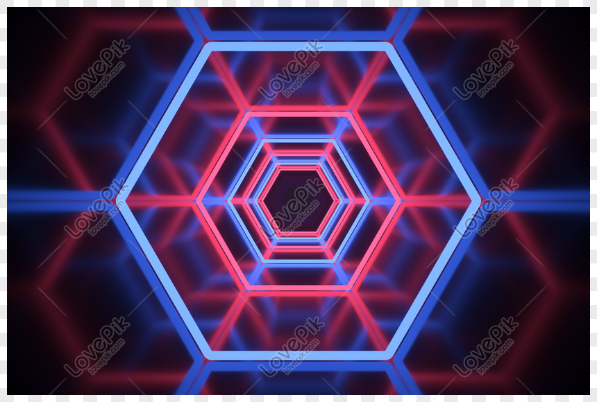 saluran neon heksagonal keren