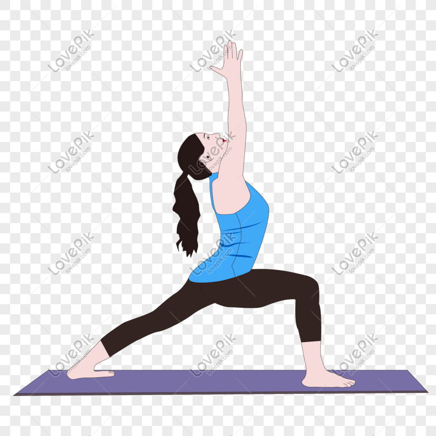 Cartoon Hand Drawn Character Beauty Girl Exercising On Yoga Mat Png Image Picture Free Download 401362223 Lovepik Com