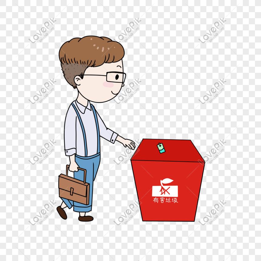 Kartun Jantan Membuang Sampah Baterai Png Grafik Gambar Unduh Gratis Lovepik