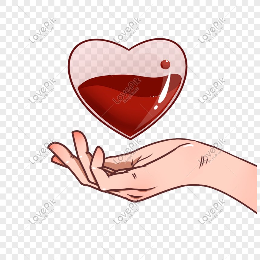 Hand holding a glass heart with blood png image_picture free