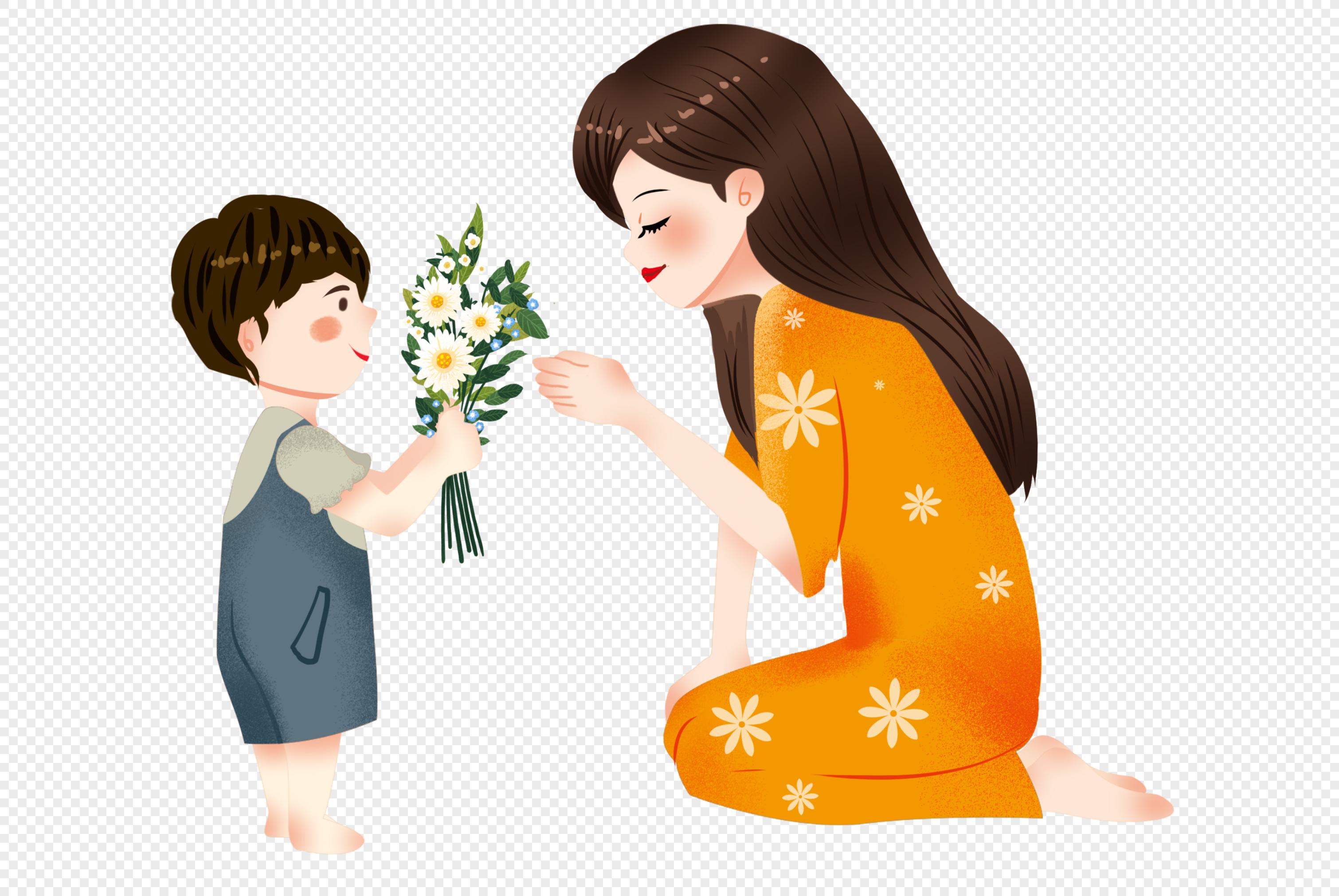 Рисунок мальчик дарит цветы маме