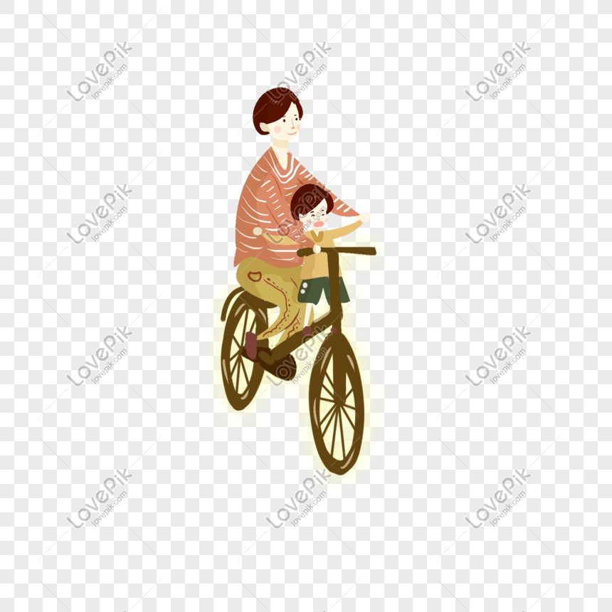 dad riding a bicycle with children png