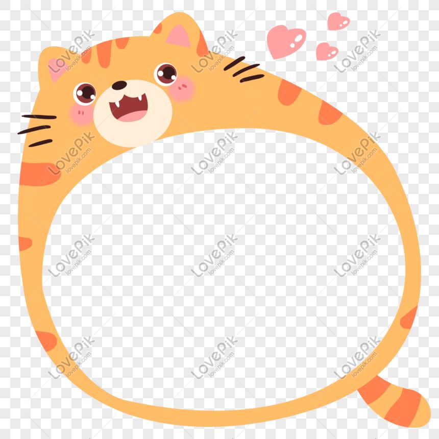 Bingkai Foto Hiasan Kucing Kartun Yang Ditarik Tangan Gambar Unduh