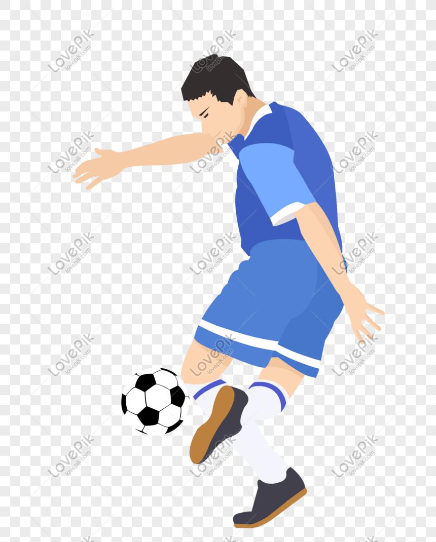 Pemain Sepakbola Dengan Setelan Bola Biru PNG Grafik Gambar