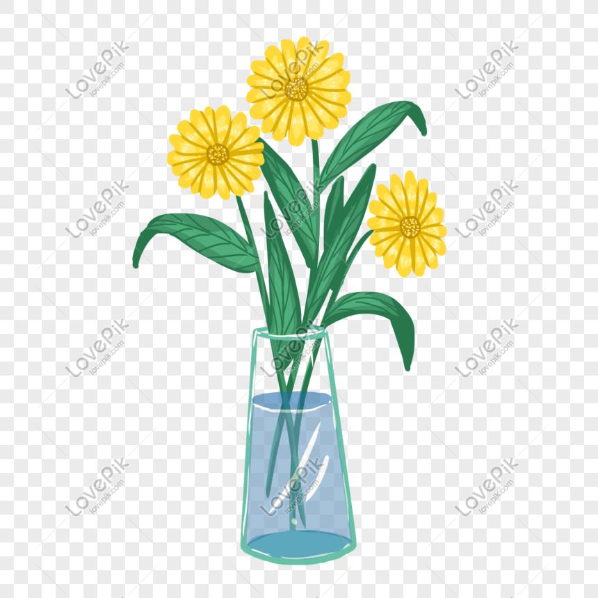 Pot Bunga Elemen Bunga Krisan Kuning Yang Ditarik Png Grafik