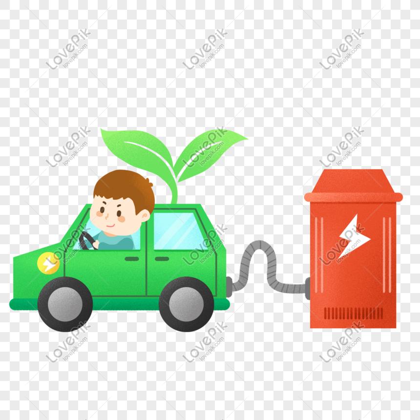 Женщина, новые знаки для газовых и электромобилей рисунок