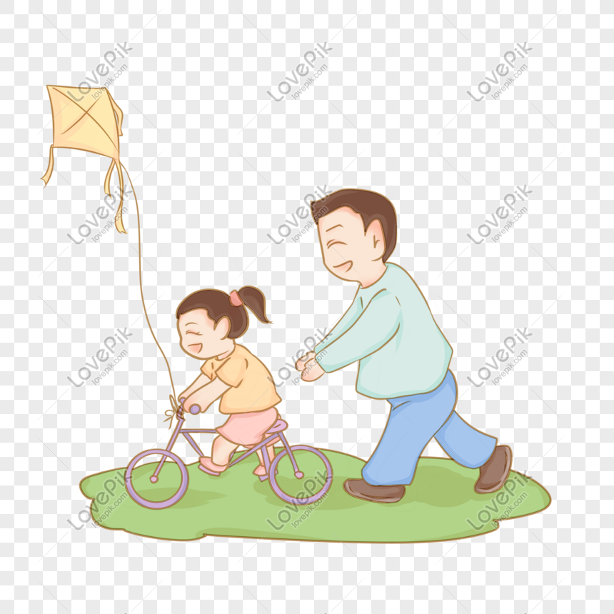 dad teaching children to ride a bicycle png
