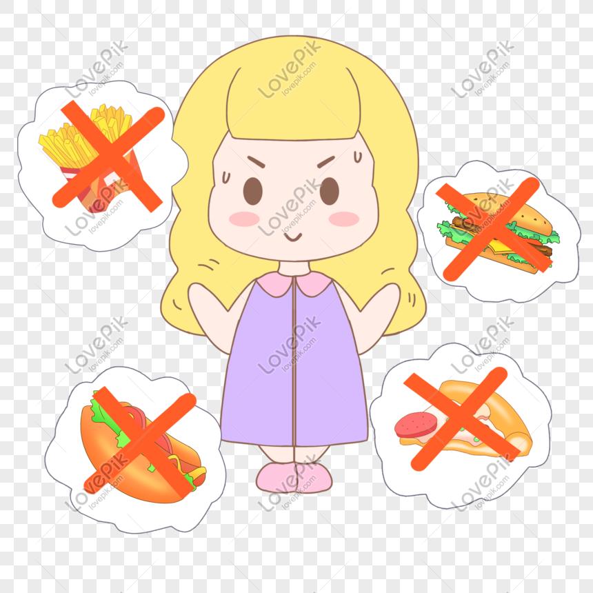 Dibujado A Mano Dibujos Animados Salud Rechazo Conjunto De