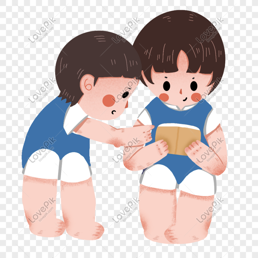 child sitting and reading a book png