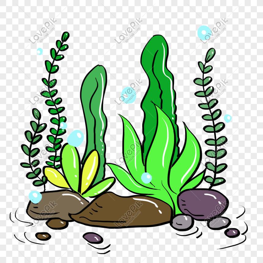 Kartun Tangan Lukisan Air Rumput Ilustrasi Bahan Percuma Gambar