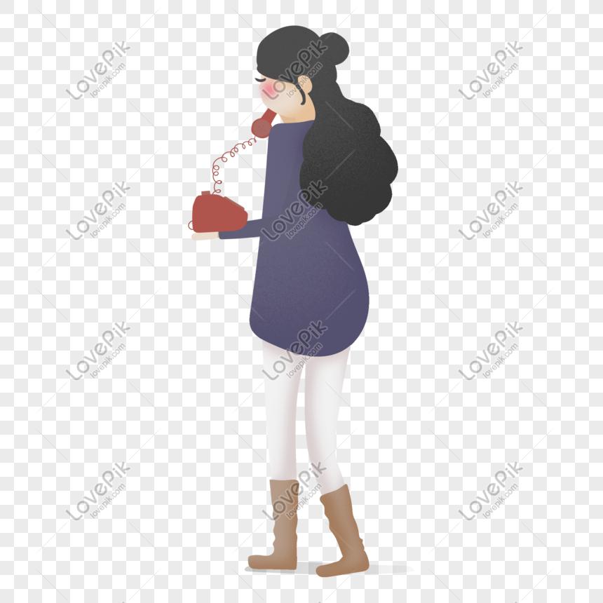 Kartun Tangan Gadis Yang Ditarik Memegang Telefon Darat Merah Gambar Unduh Gratis Imej 401397239 Format Psd My Lovepik Com