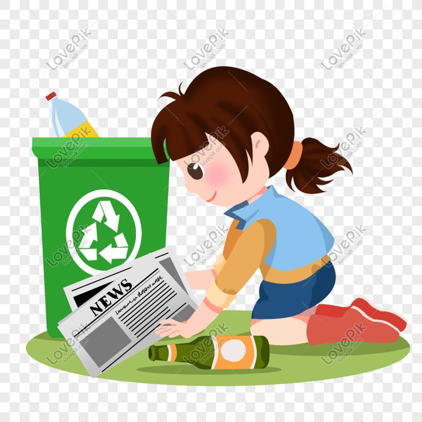 Gadis Kartun Meletakkan Botol Bir Dalam Tong Sampah Gambar