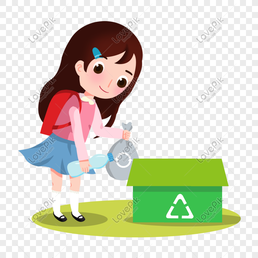 Gadis Kartun Menyortir Ilustrasi Sampah PNG Grafik Gambar