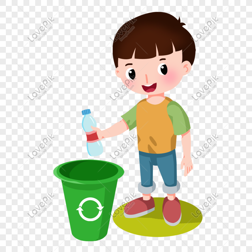 Budak Kartun Meletakkan Botol Di Dalam Tong Sampah Gambar