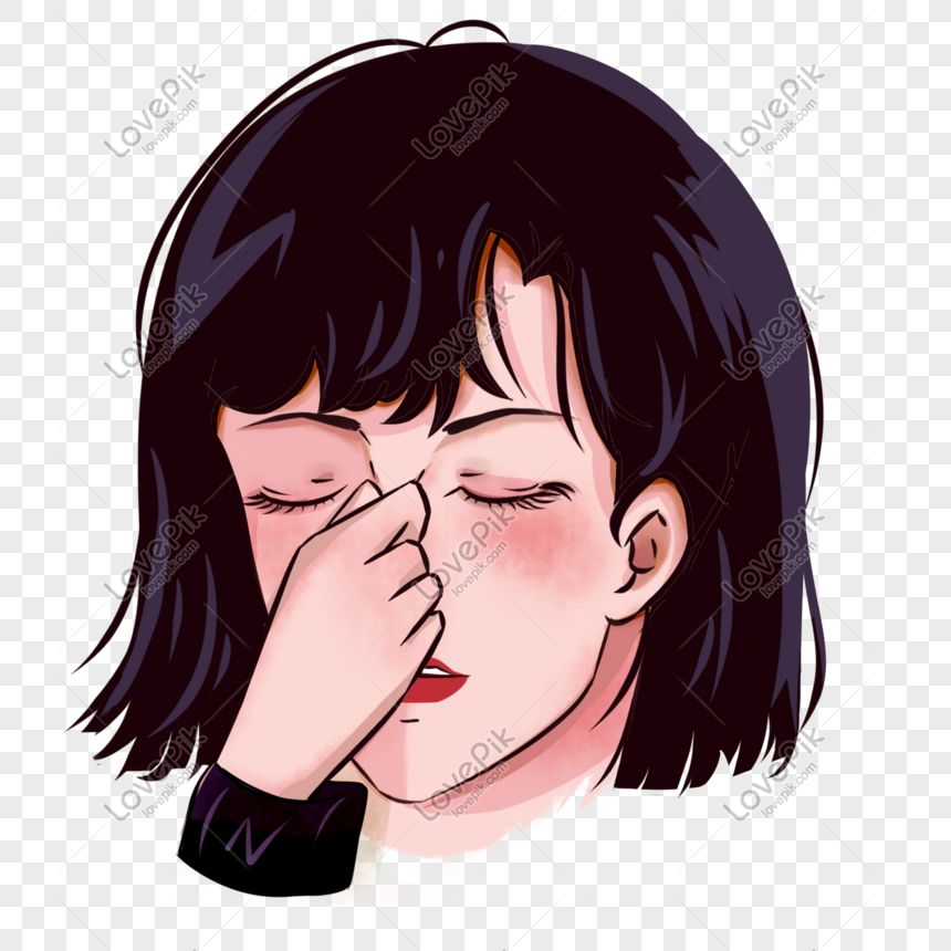 Short Hair Girl Closed Eyes Cartoon Hand Drawn Png Image Picture