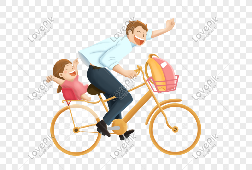 dad riding a bike with children png