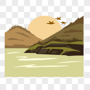 Cartoon Mountain River Meadow Vector Png Image Picture Free Download 401274250 Lovepik Com