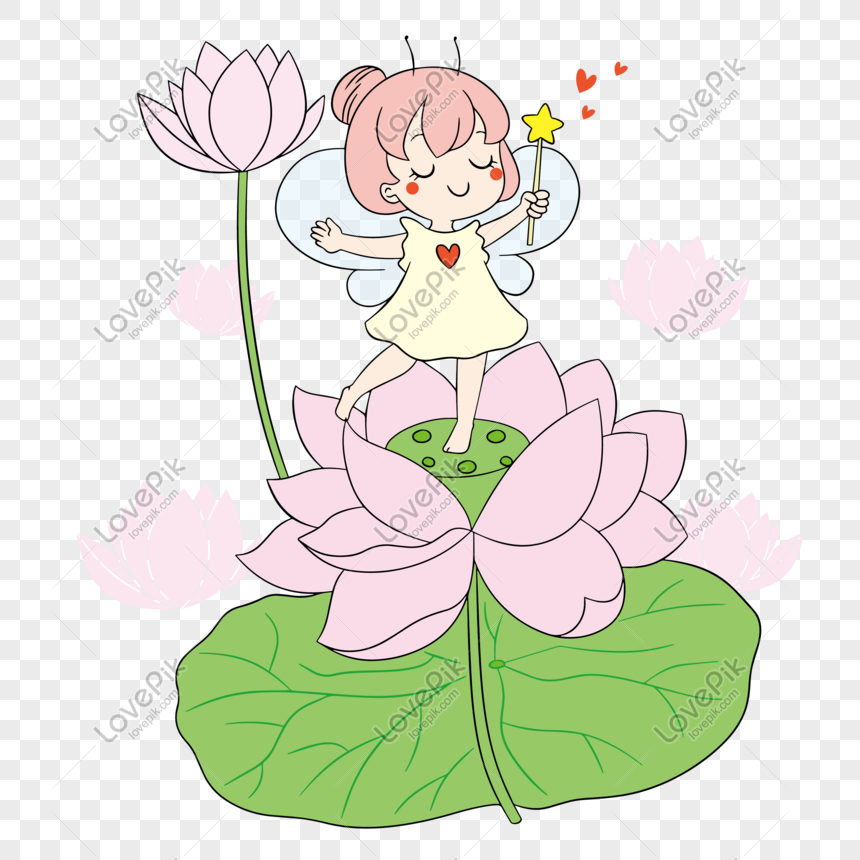 Cute Little Fairy In Summer Flower Lotus Png Image Picture Free Download 401438677 Lovepik Com