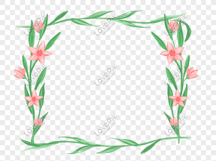 fresh watercolor flower plant border png