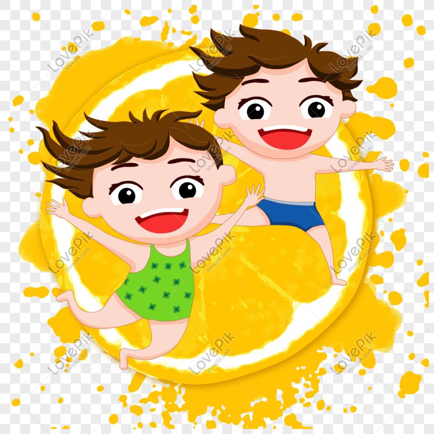 Lovepik صورة Psd 401453819 Id الرسومات بحث صور طفل يسبح في البرتقال