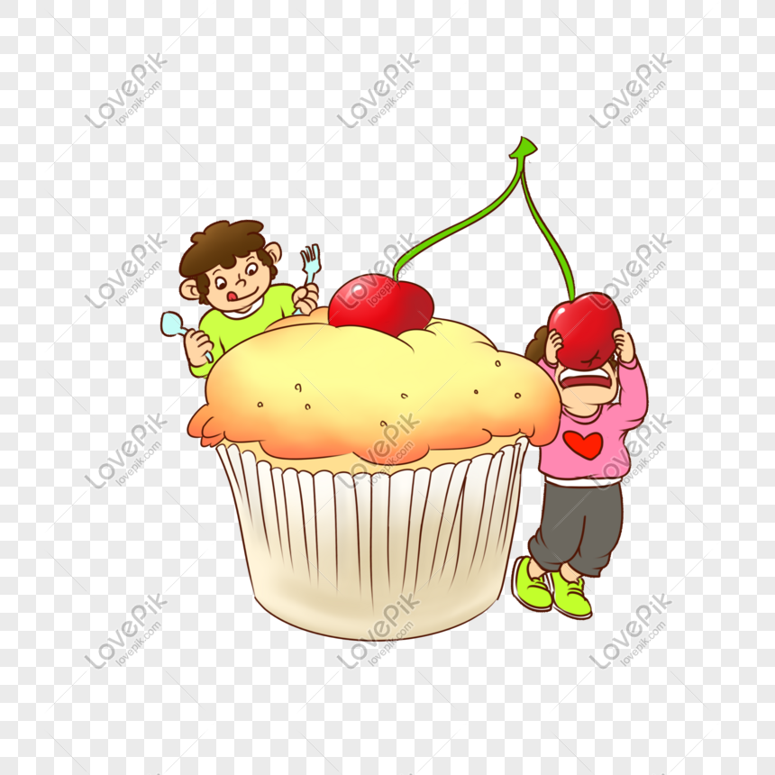eating cherry cake png