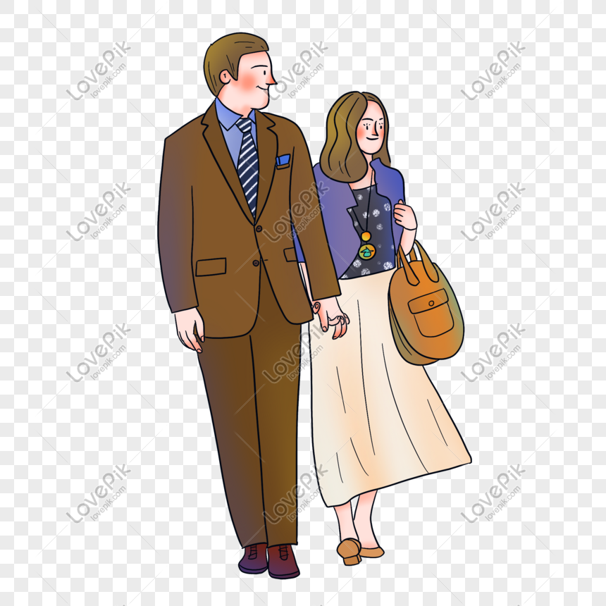 european and american illustrator wind couple png