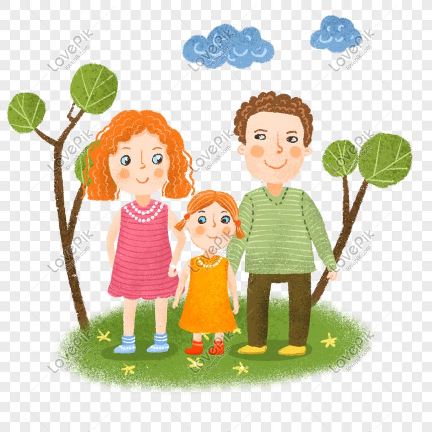 Keluarga Tiga Ayah Bahagia Ibu Anak Perempuan Disertai Denga Gambar Unduh Gratis Imej 401462493 Format Psd My Lovepik Com