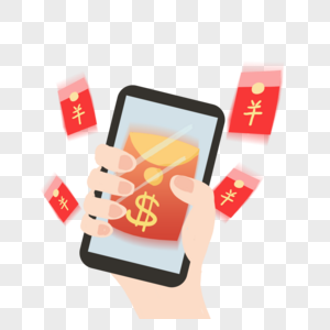 A woman holding a cell phone to grab a red envelope png