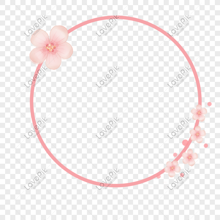 cartoon pink cherry blossom round frame png