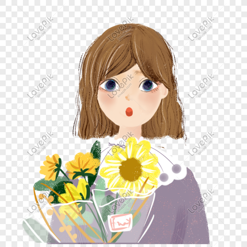 girl holding flower png