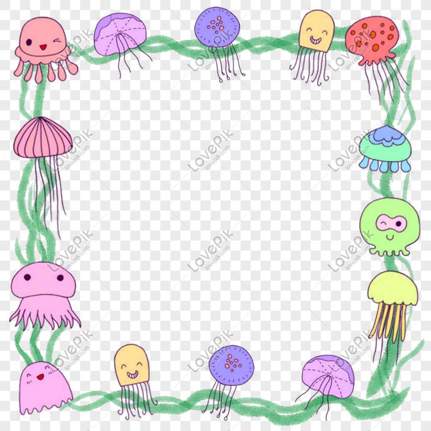 Jellyfish Border Png Image Psd File Free Download Lovepik 401484538