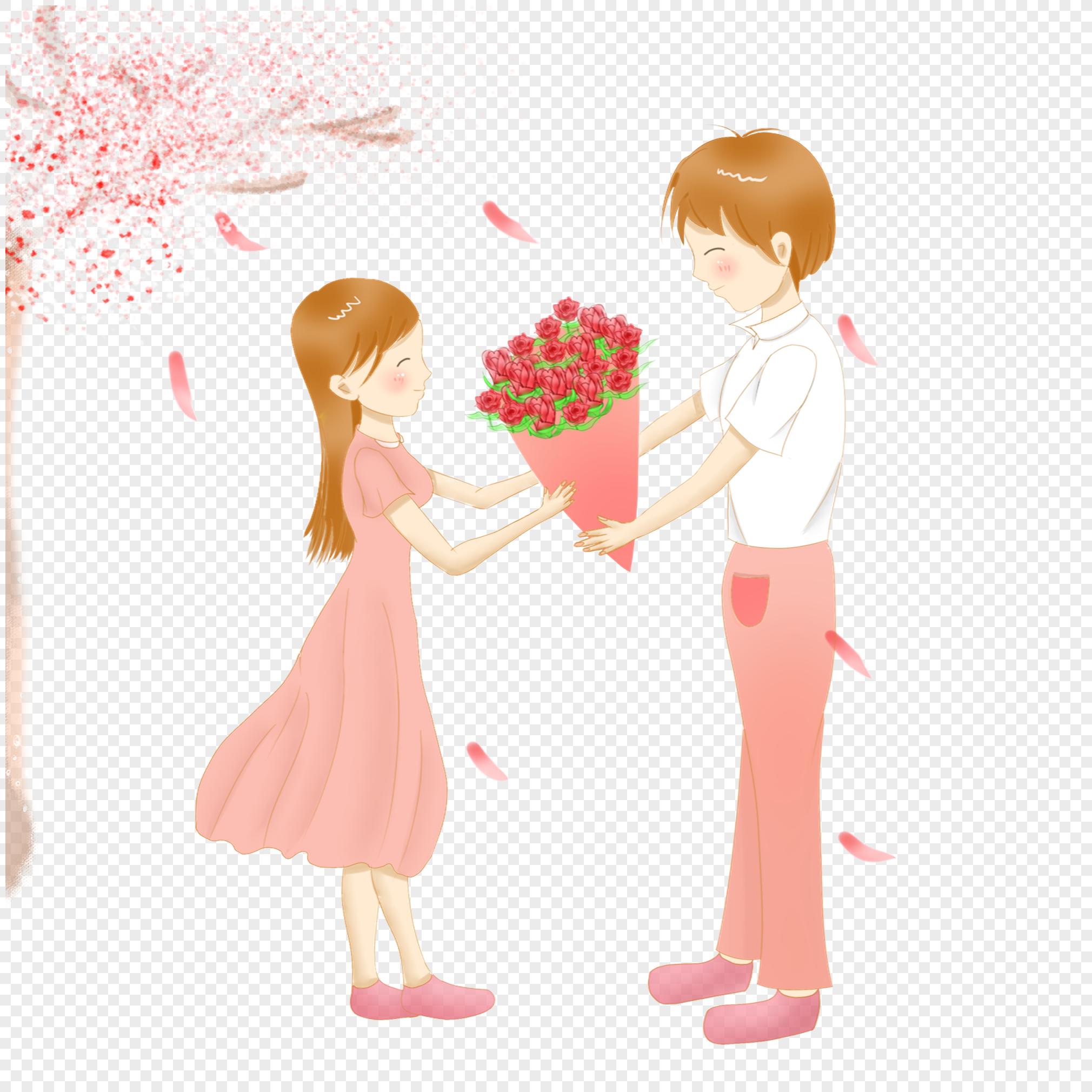 Мальчик дарит девочке цветы картинки рисованные