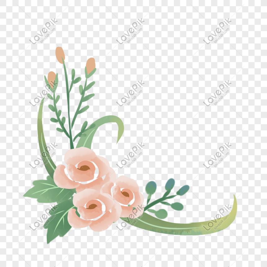 粉色玫瑰花朵植物邊框 png