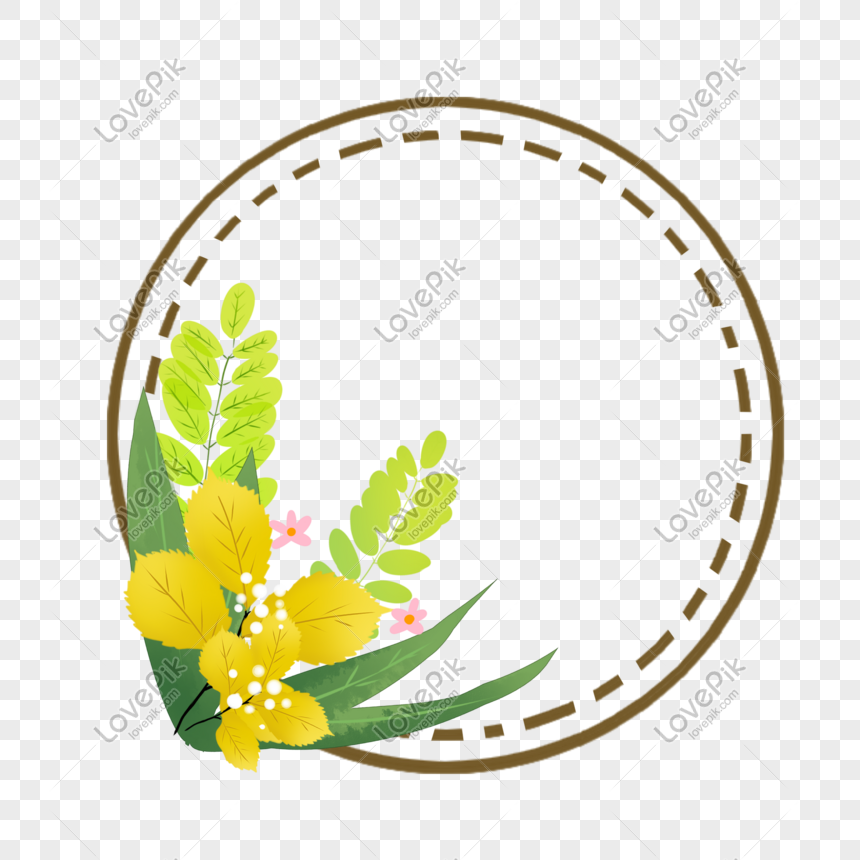 green plant round border png