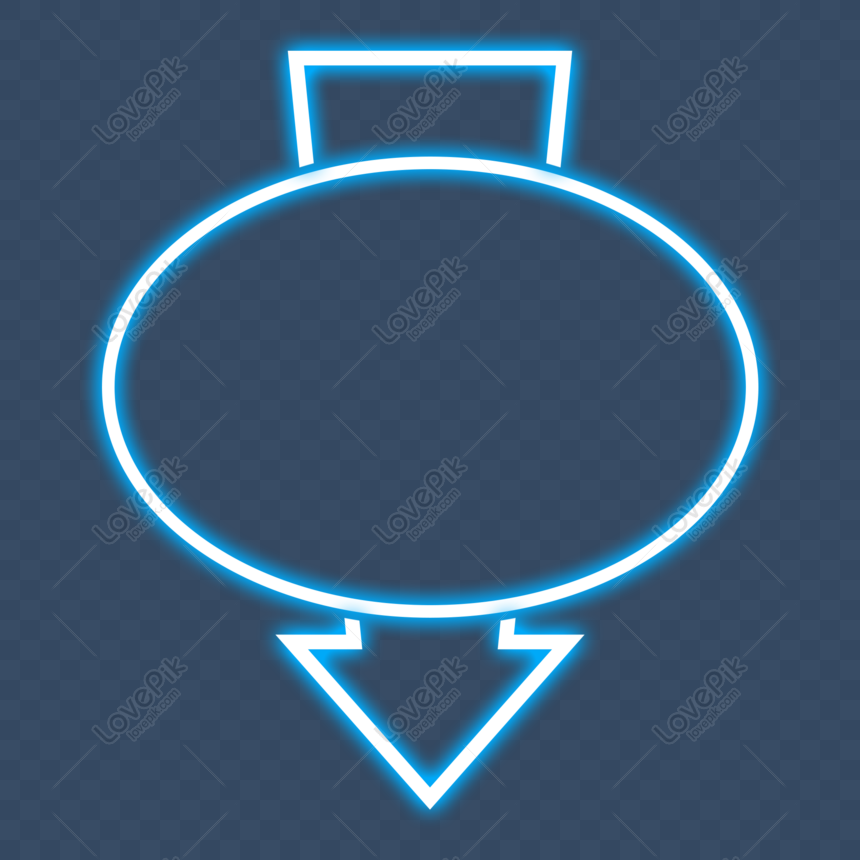 illuminated neon effect sign outside the border frame png