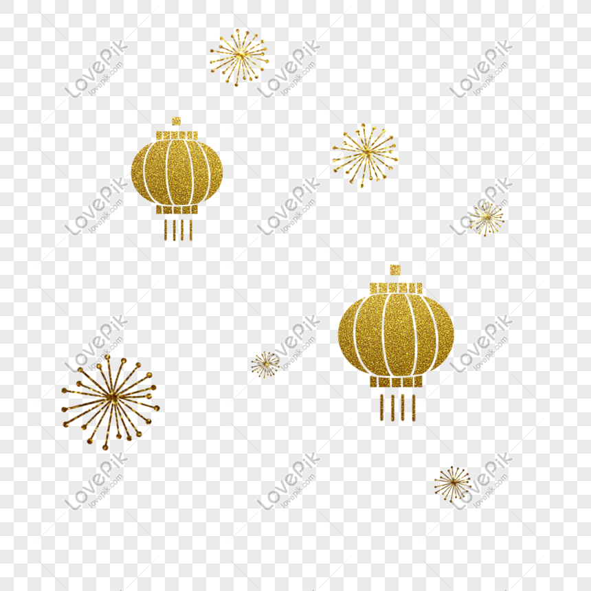 golden paper cut lantern png